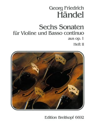6 Sonaten op. 1, Volume 2 HAENDEL Partition Violon - laflutedepan