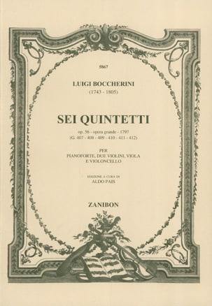 Sei Quintetti Op. 56 G. 407-412 Piano Conducteur laflutedepan