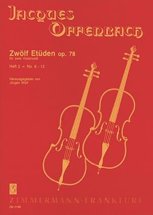 Zwölf Etüden op. 78, Heft 2 : n° 8-12 OFFENBACH Partition laflutedepan