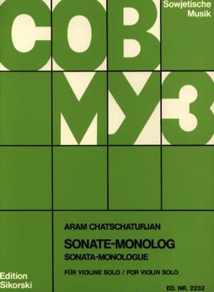 Sonate-Monolog KHATCHATURIAN Partition Violon - laflutedepan