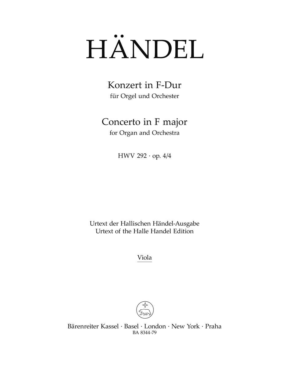 Orgel-Konzert F-Dur op. 4/4 HWV 292 - HAENDEL - laflutedepan.com