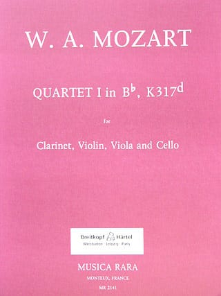 Quartet n° 1 in Bb, KV 317d -Clarinet violin viola cello - laflutedepan.com