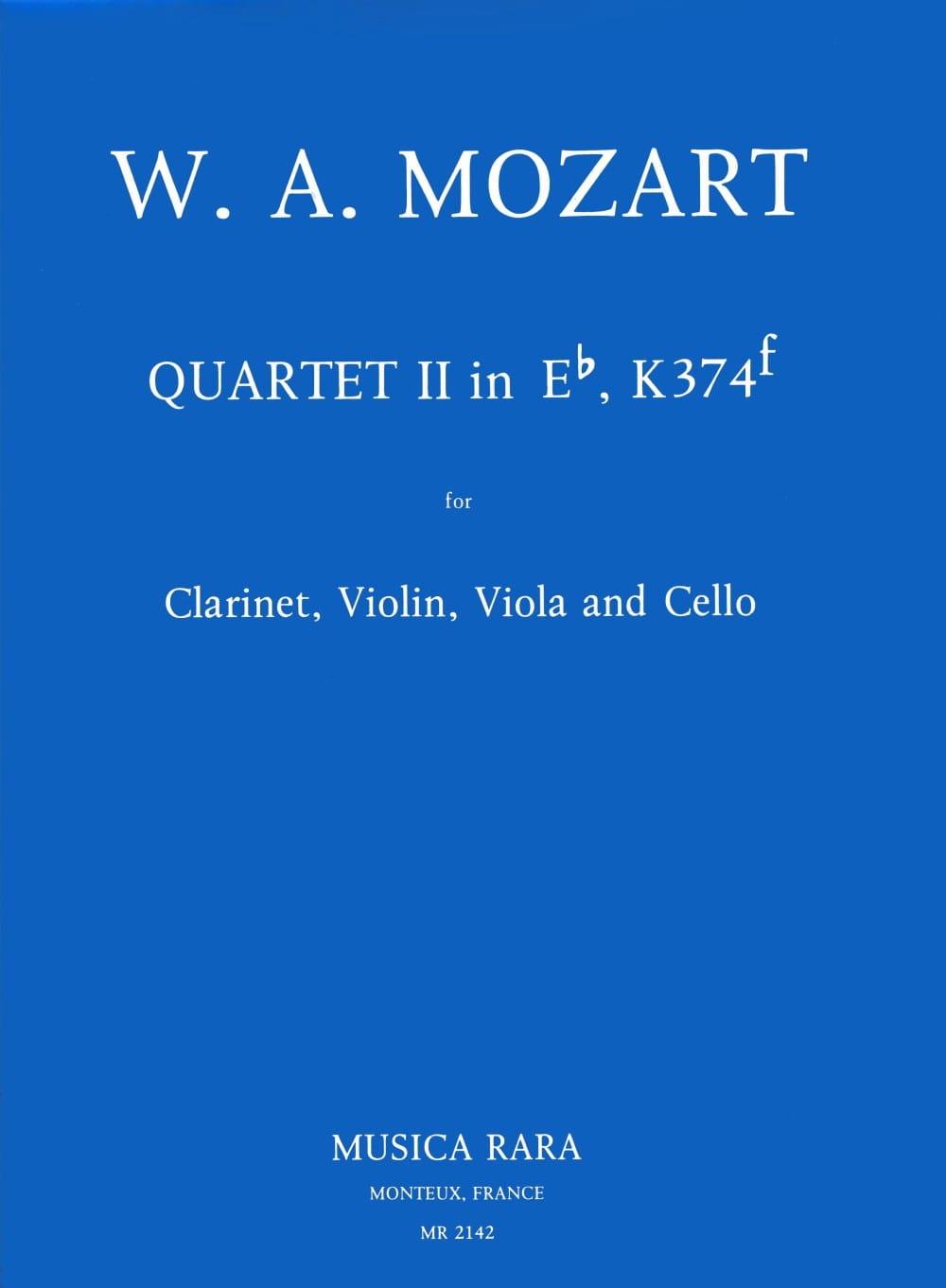 Quartet n° 2 in Eb, KV 374f -Clarinet violin viola cello - laflutedepan.com