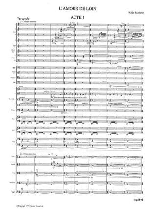 L'amour de Loin - Opéra Kaija Saariaho Partition laflutedepan