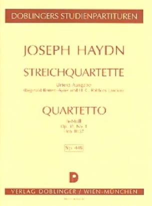 Streichquartett h-moll op. 33 n° 1 Hob. 3 : 37 - Partitur - laflutedepan.com
