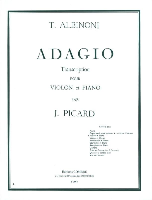 Adagio - Violon - ALBINONI - Partition - Violon - laflutedepan.com