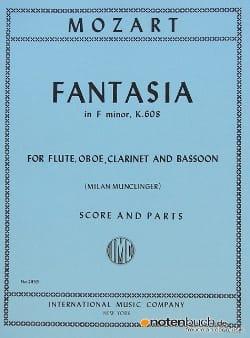 Fantasia in F minor KV 608 -Flute oboe clarinet bassoon - Score + parts laflutedepan