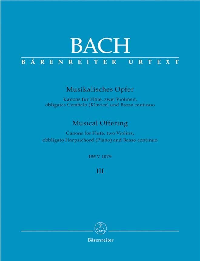 Musikalisches Opfer Bd. 3 : Kanons - Flöte, 2 Violinen, obl. Cembalo u. Bc - laflutedepan.com