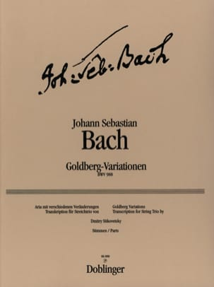 Variations Goldberg - Trio à cordes BACH Partition laflutedepan