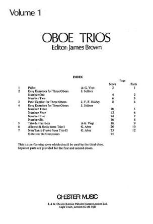 Oboe Trios Volume 1 - 3 Hautbois James Brown Partition laflutedepan