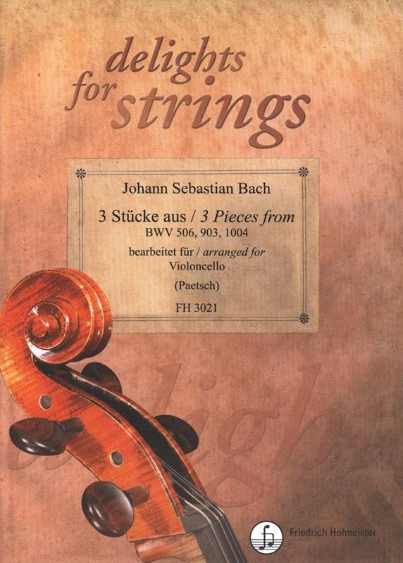 3 Pièces - Violoncelle solo - BACH - Partition - laflutedepan.com