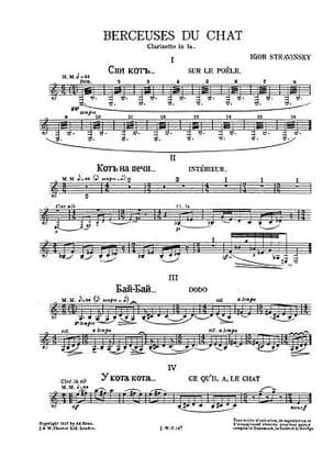 Berceuse Du Chat Cl. Parts - STRAVINSKY - Partition - laflutedepan.com