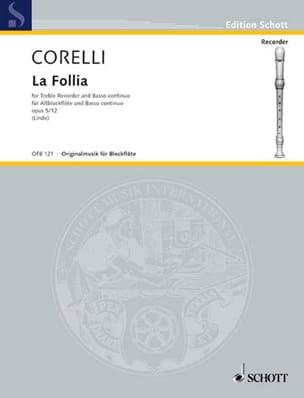 CORELLI - The Follia op. 5 n ° 12 - Altblockflöte und Bc - Partition - di-arezzo.com