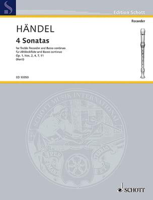 Four Sonatas HAENDEL Partition Flûte à bec - laflutedepan