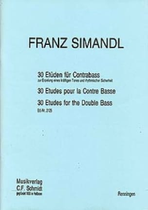 30 Etüden für Kontrabass - Franz Simandl - laflutedepan.com