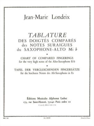 Tablature Des Doigtés Comparés Jean-Marie Londeix laflutedepan