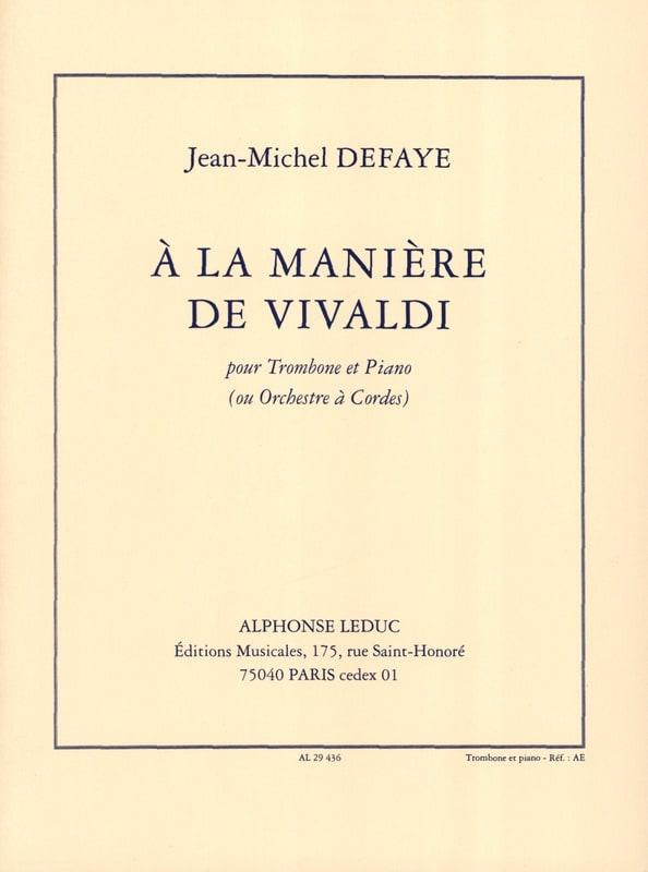 A la Manière de Vivaldi - Jean-Michel Defaye - laflutedepan.com