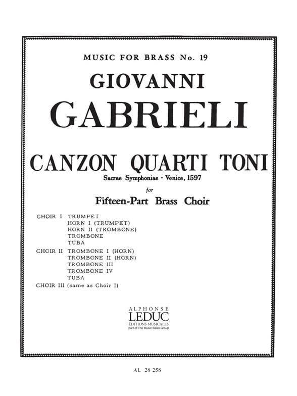 Canzon quarti toni - Sacrae symphoniae, Venise 1597 - laflutedepan.com
