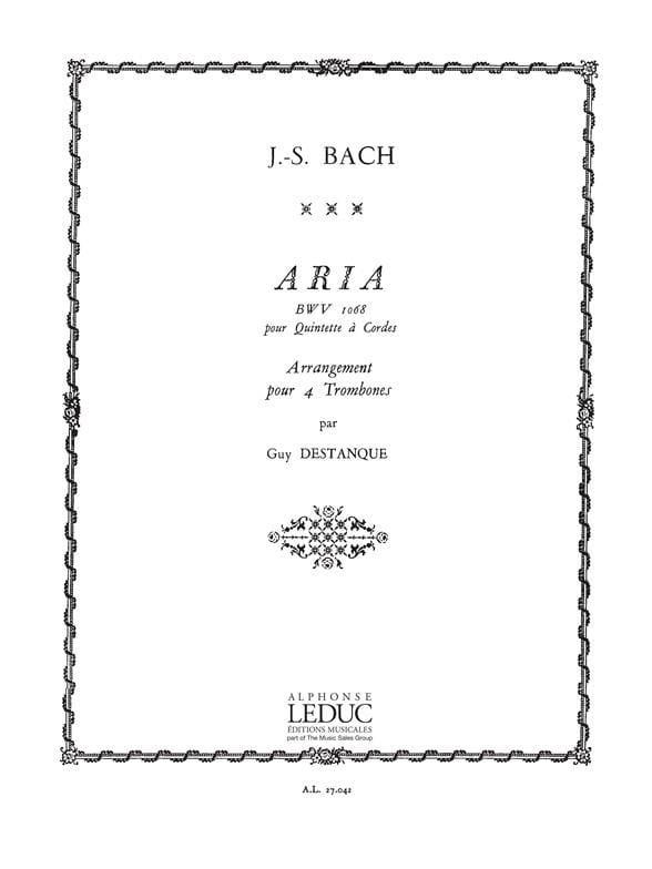 Aria Bwv 1068 - BACH - Partition - Trombone - laflutedepan.com