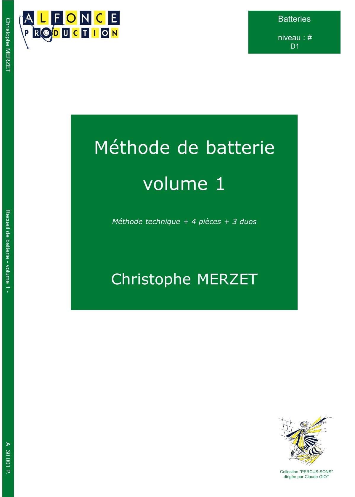 Méthode de Batterie Volume 1 - Christophe Merzet - laflutedepan.com