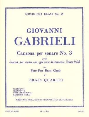 Canzona Per Sonare N° 3 GABRIELI Partition laflutedepan