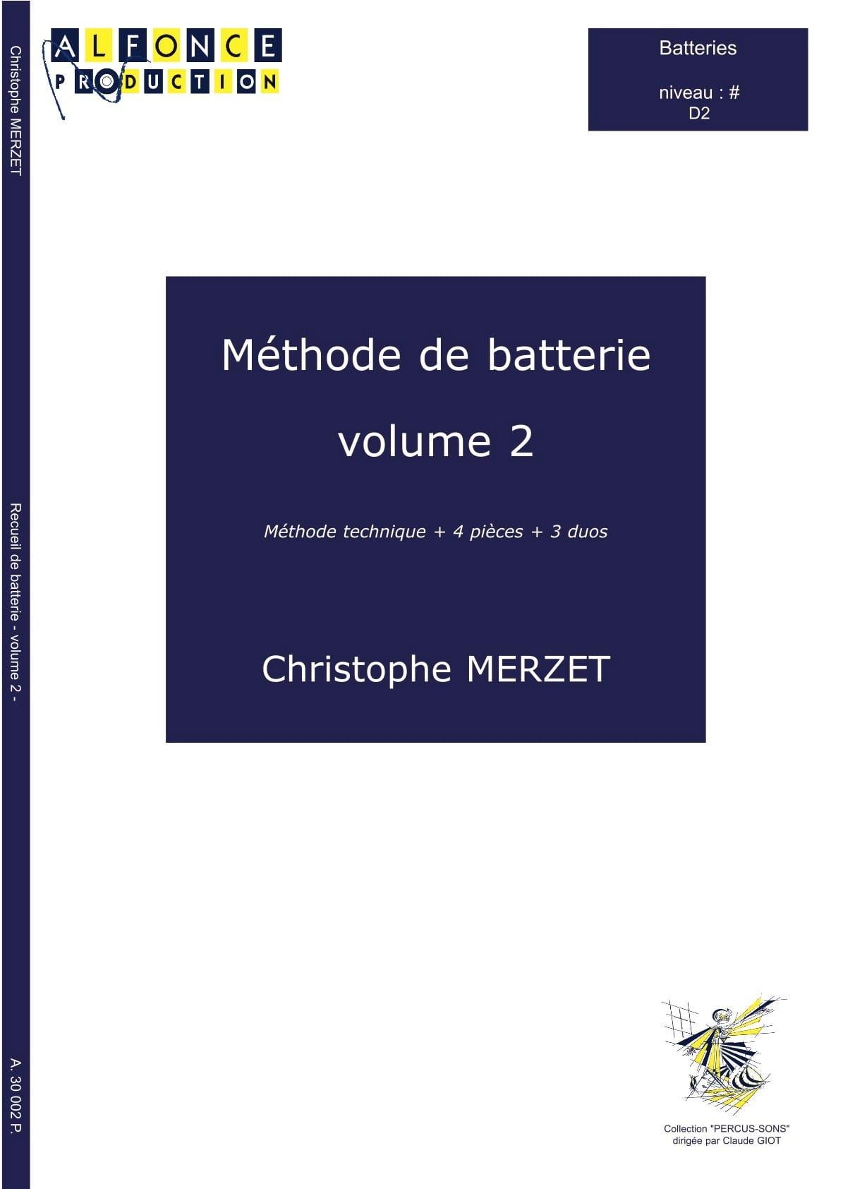 Méthode de Batterie Volume 2 - Christophe Merzet - laflutedepan.com