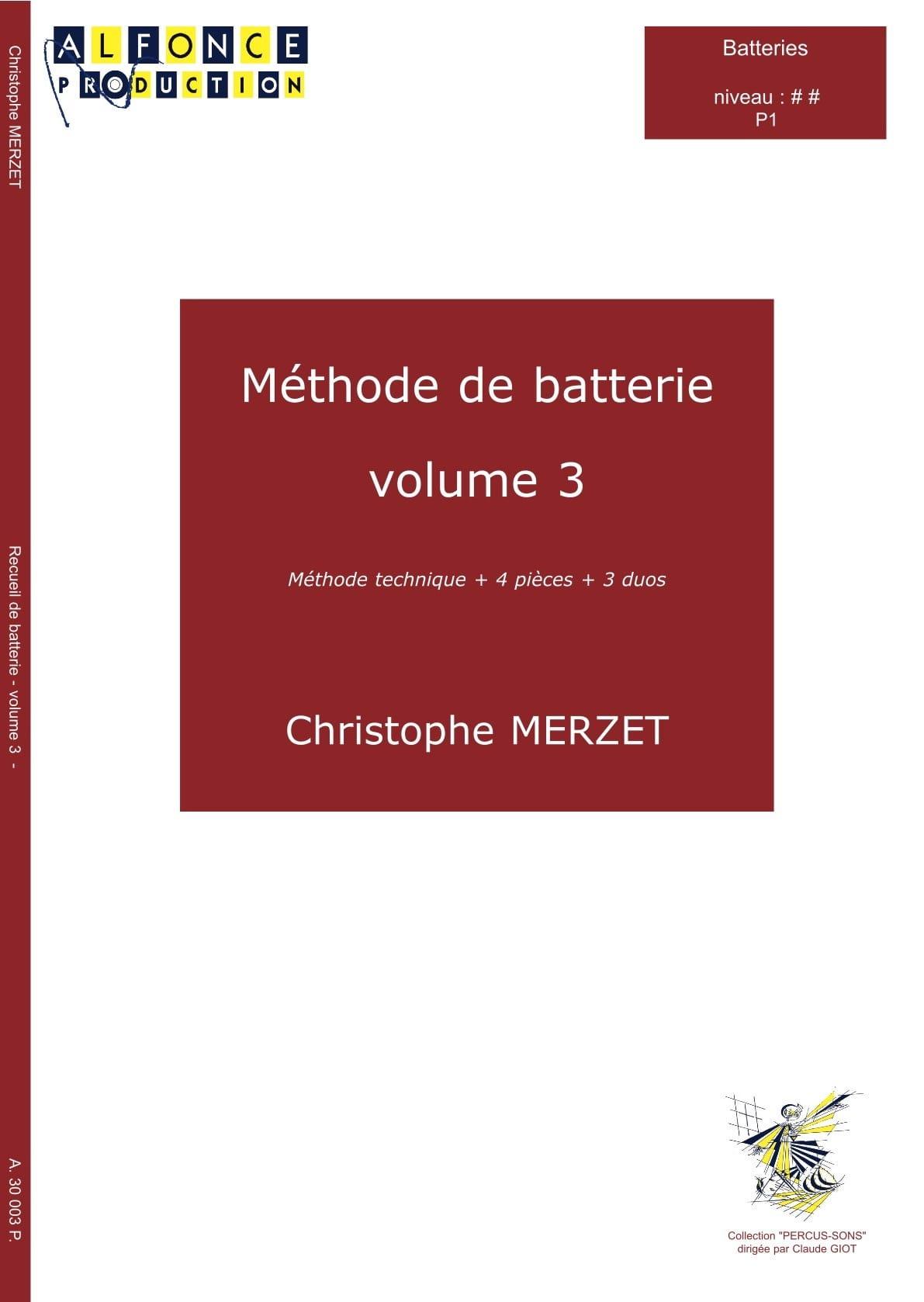 Méthode de Batterie Volume 3 - Christophe Merzet - laflutedepan.com