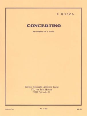 Concertino Eugène Bozza Partition Saxophone - laflutedepan
