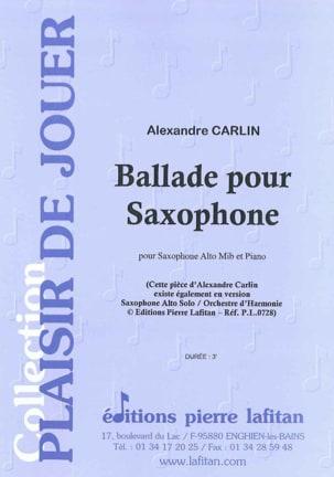 Ballade pour saxophone Alexandre Carlin Partition laflutedepan