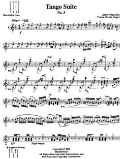 Tango suite - third mouvement Astor Piazzolla Partition laflutedepan