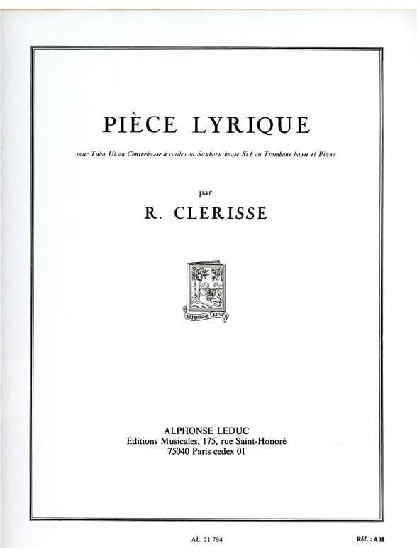 Pièce Lyrique - Robert Clérisse - Partition - Tuba - laflutedepan.com
