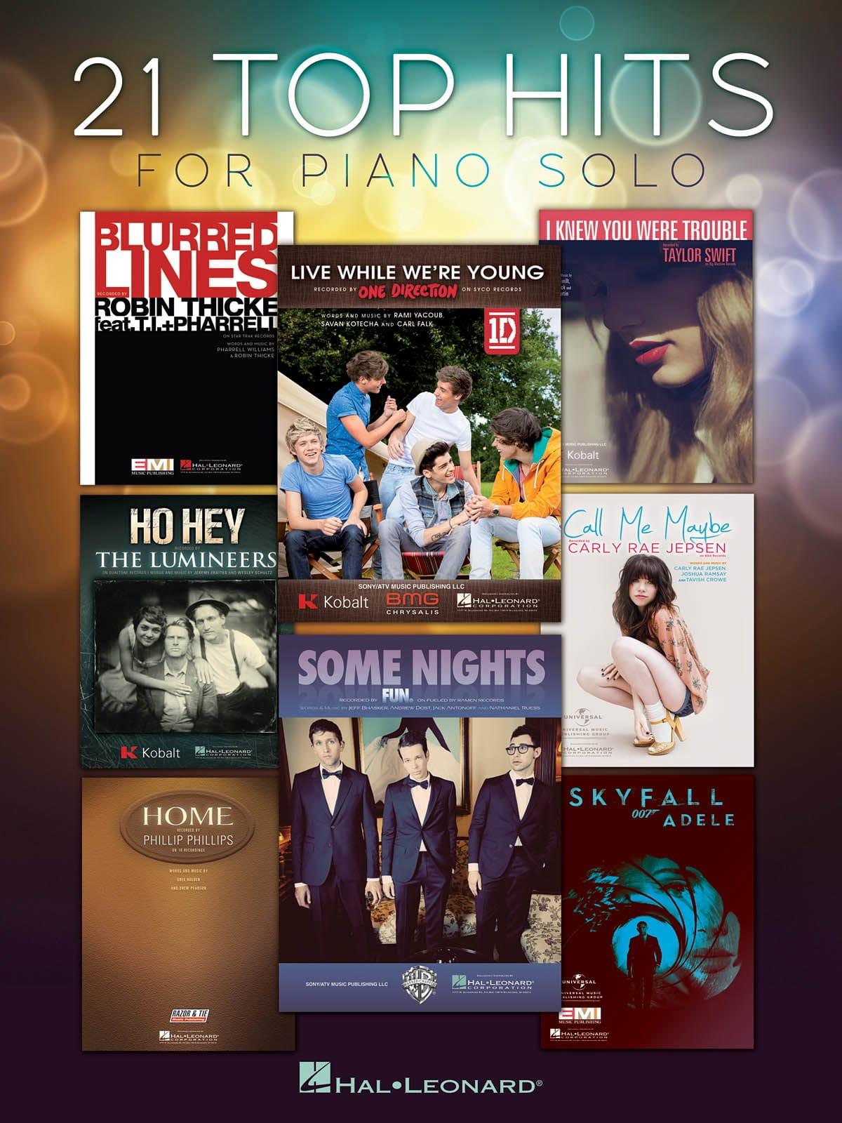 21 Top hits for piano solo - Partition - laflutedepan.com