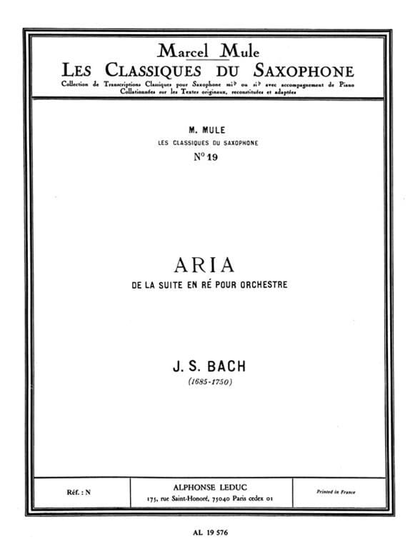Aria - BWV 1068 - BACH - Partition - Saxophone - laflutedepan.com