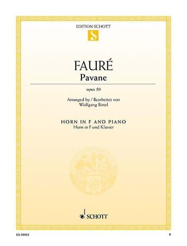 Pavane opus 50 - FAURÉ - Partition - Cor - laflutedepan.com