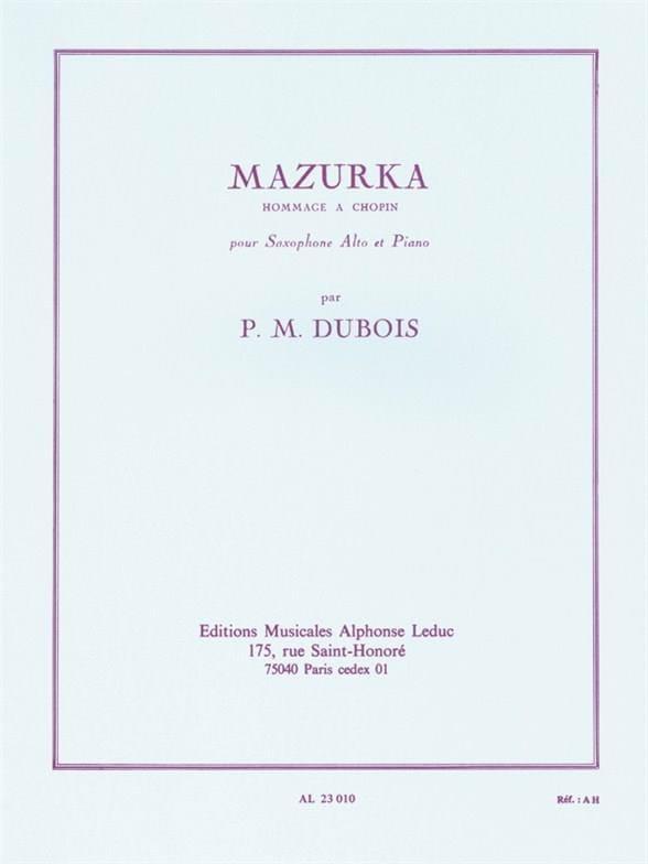 Mazurka - Pierre-Max Dubois - Partition - Saxophone - laflutedepan.com