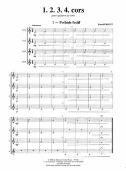 1, 2, 3, 4 cors Pascal Proust Partition Cor - laflutedepan