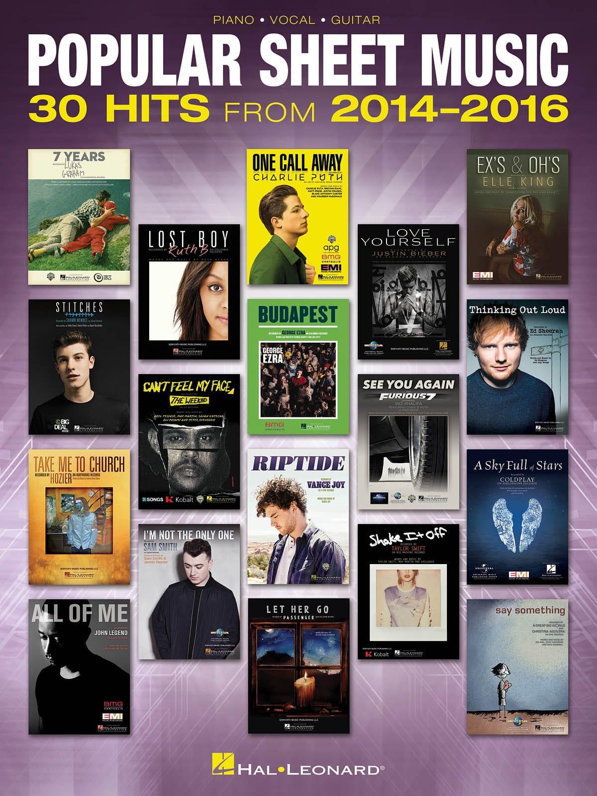 Popular Sheet Music - 30 Hits from 2014 - 2016 - laflutedepan.com