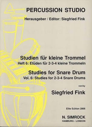 Siegfried Fink - Studies For Snare Trommel Drum Volume 6 - Partition - di-arezzo.co.uk