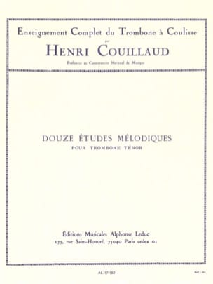 12 Etudes mélodiques Henri Couillaud Partition Trombone - laflutedepan