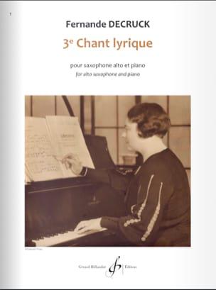 3e Chant lyrique Fernande Decruck Partition Saxophone - laflutedepan
