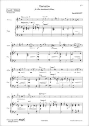 Preludio - Pascal Proust - Partition - Saxophone - laflutedepan.com
