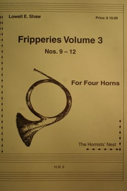 Fripperies Volume 3 N° 9-12 Lowell E. Shaw Partition laflutedepan