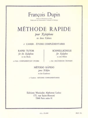 Méthode Rapide Pour Xylophone Volume 2 François Dupin laflutedepan