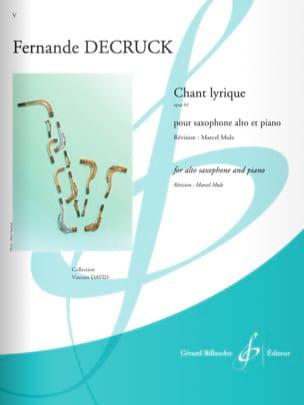Chant Lyrique Fernande Decruck Partition Saxophone - laflutedepan