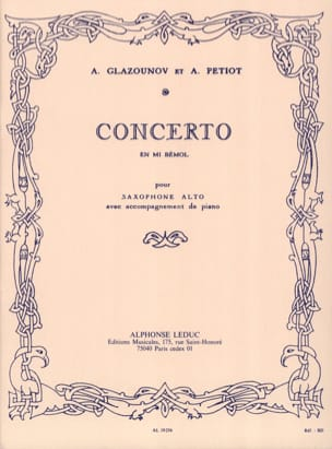 Concerto En Mi Bémol GLAZOUNOV Partition Saxophone - laflutedepan