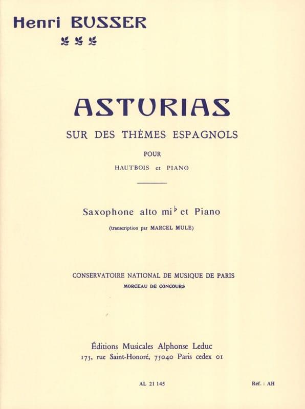 Asturias - Henri Busser - Partition - Saxophone - laflutedepan.com