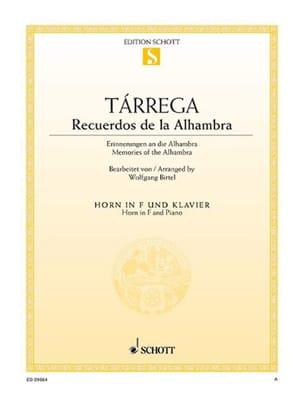 Recuerdos de la Alhambra TARREGA Partition Cor - laflutedepan