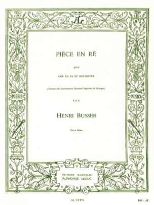 Pièce En Ré Henri Busser Partition Cor - laflutedepan