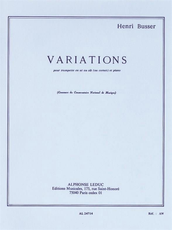 Variations Opus 53 - Henri Busser - Partition - laflutedepan.com