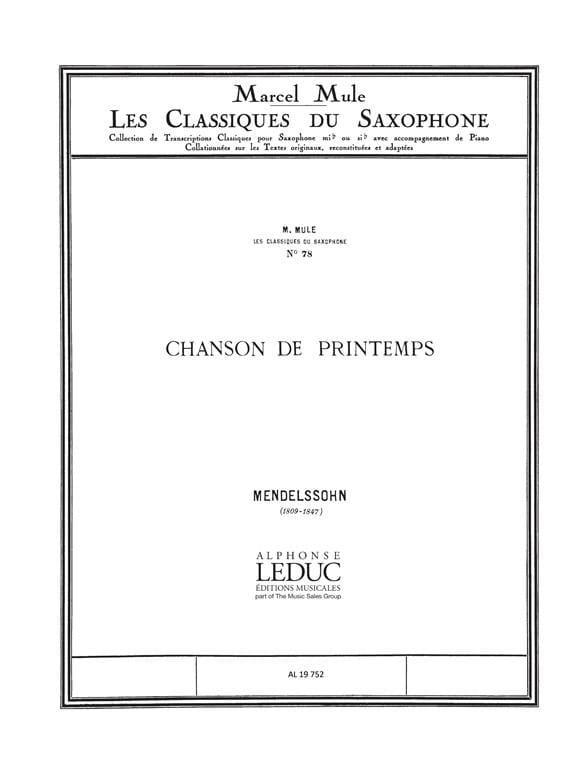 Chanson de Printemps - MENDELSSOHN - Partition - laflutedepan.com